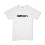 Official kidthinker logo on organic kids t-shirt.