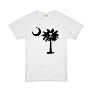 Buy a Jolly Roger Pirate Palmetto Moon Organic Kids T-Shirt featuring a palmetto with a Jolly Roger pirate flag background. The palmetto moon is a symbol of South Carolina pride.