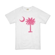 The pink palmetto and crescent moon design is a symbol of South Carolina pride. Buy pink palmetto moon t-shirts, sweatshirts, or other clothing or gift items.