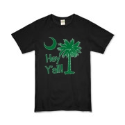 Say hello with the Green Hey Y'all Palmetto Moon Organic Kids T-Shirt. It features the South Carolina palmetto moon.