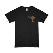 Buy a Chocolate Brown Palmetto Moon Organic Kids T-Shirt featuring a smaller palmetto printed on the left chest area. The palmetto moon is a symbol of South Carolina pride.