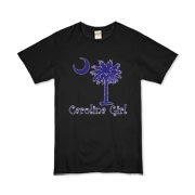 Buy a Purple Carolina Girl Organic Kids T-Shirt featuring the South Carolina palmetto moon logo.
