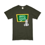 Back 2 school tee shirts, sweatshirts and clothing. Fun back 2 school gifts and merchandise with picture of a green chalkboard and a school girl.