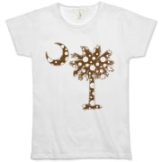 Chocolate Brown Polka Dot Palmetto Moon Organic Women's T-Shirt features a chocolate brown palmetto moon with white polka dots. Buy this fun variation on the South Carolina palmetto moon flag today!