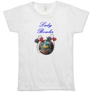 This elegant Lady Bowler bowling shirt design shows a bowling ball embossed with ribbon flowers, with more flowers interspersed among the bowling ball and bowling pins. Perfect for the lady bowler you know.