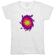 This women's abstract art organic t-shirt is a whirlpool of complementing colors.