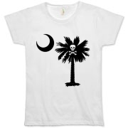 Buy a Jolly Roger Pirate Palmetto Moon Organic Women's T-Shirt featuring a palmetto with a Jolly Roger pirate flag background. The palmetto moon is a symbol of South Carolina pride.