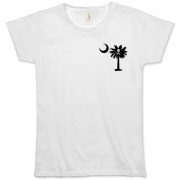 Buy a Jolly Roger Pirate Palmetto Moon Organic Women's T-Shirt featuring a smaller palmetto printed on the left chest area with a Jolly Roger pirate flag background. The palmetto moon is a symbol of South Carolina pride.