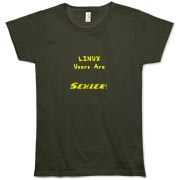 This women's whimsical Linux organic t-shirt says: Linux Users Are Sexier. Duh! Let this design advertise your sexy computer prowess.