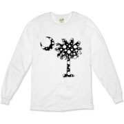 Black Polka Dot Palmetto Moon Organic Long Sleeve T-Shirt features a black palmetto moon with white polka dots. Buy this fun variation on the South Carolina palmetto moon flag today!
