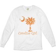 Carolina Girls and polka dots, a great combination! Get your Orange Polka Dot Carolina Girl Organic Long Sleeve T-Shirt with an orange South Carolina palmetto moon.