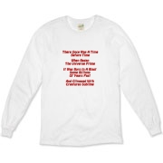 This witty Big Bang limerick organic long sleeve t-shirt gives in rhyme a quick recount of the evolution of the universe, from the Big Bang beginning to the creation of mankind.