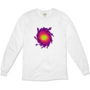 This visionary art organic long sleeve t-shirt is a whirlpool of complementing colors.