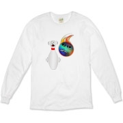 The cartoon bowling pin on this sarcastic bowling organic long sleeve t-shirt shows total terror as the flaming bowling ball races to get a spare.