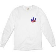 This bowling long sleeve t-shirt with patriotic pocket emblem design shows bright colored bowling pins and a colorful bowling ball, all wrapped in stars and stripes.