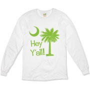 Say hello with the Lime Green Hey Y'all Palmetto Moon Organic Long Sleeve T-Shirt. It features the South Carolina palmetto moon.