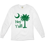 Say hello with the Green Hey Y'all Palmetto Moon Organic Long Sleeve T-Shirt. It features the South Carolina palmetto moon.