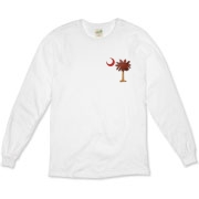 The basketball palmetto moon features the South Carolina palmetto with a basketball and hardwood floor theme positioned in the pocket area of a Organic Long Sleeve T-Shirt.