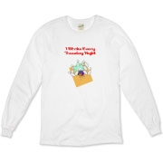 This humorous league night bowling shirt shows a strike landing home, with the caption: I Strike Every Tuesday Night.