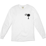 Buy a Black Palmetto Moon Organic Long Sleeve T-Shirt featuring a smaller palmetto printed on the left chest area. The palmetto moon is a symbol of South Carolina pride.