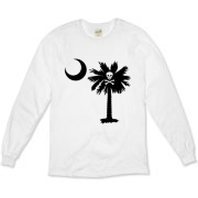 Buy a Jolly Roger Pirate Palmetto Moon Organic Long Sleeve T-Shirt featuring a palmetto with a Jolly Roger pirate flag background. The palmetto moon is a symbol of South Carolina pride.