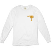 Buy a Yellow Smiley Palmetto Moon Organic Long Sleeve T-Shirt featuring a smaller palmetto printed on the left chest area. The palmetto moon is a symbol of South Carolina pride.