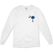 Buy a Blue Carolina Girl Deluxe Organic Long Sleeve T-Shirt. This two-sided design features a small palmetto moon printed on the front left chest area and matching Carolina Girl palmetto design on the back. The palmetto moon is a symbol of South Carolina