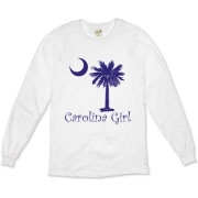 Buy a Purple Carolina Girl Organic Long Sleeve T-Shirt featuring the South Carolina palmetto moon logo.