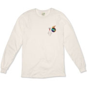 This funny bowling fanatic long sleeve shirt has a pocket-sized emblem that shows a bowling pin in total terror as a flaming bowling ball chases it down.