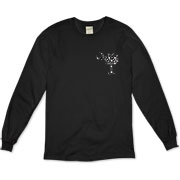 Black Polka Dot Palmetto Moon Organic Long Sleeve T-Shirt features a small black palmetto moon with white polka dots printed in the pocket area.