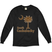 Brown South Cackalacky Palmetto Moon Organic Long Sleeve T-Shirt features the South Carolina palmetto moon logo in brown.