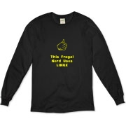 This funny computer organic long sleeve t-shirt says: This Frugal Nerd Uses Linux. A hand with extended thumb points to the wearer. If you're smart enough to use Linux, you're smart enough to wear this design.