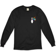 This comical bowling fanatic long sleeve t-shirt has a pocket-sized emblem that shows a bowling pin in total terror as a flaming bowling ball chases it down.