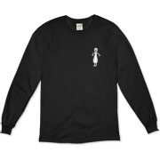 The pocket area design on this funny bowling organic long sleeve t-shirt shows a cartoon bowling pin shaking with fright as it faces down a speeding bowling ball.
