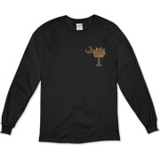 Buy a Chocolate Brown Palmetto Moon Organic Long Sleeve T-Shirt featuring a smaller palmetto printed on the left chest area. The palmetto moon is a symbol of South Carolina pride.