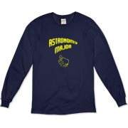 This comical astronomy organic long sleeve t-shirt shows a thumb in a self-pointing gesture, and carries the big label: Astronomy Major.
