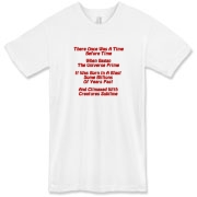 This comical cosmology limerick American apparel t-shirt gives in rhyme a quick recount of the evolution of the universe, from the Big Bang beginning to the creation of mankind.