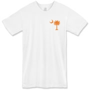 Orange and Purple South Cackalacky Palmetto Moon American Apparel T-Shirt features the South Carolina palmetto moon logo in orange and purple on the back and a smaller, matching palmetto moon on the front.