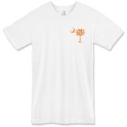 Orange and Purple South Cackalacky Palmetto Moon t-shirts, apparel and gifts feature the South Carolina palmetto moon logo in orange and purple on the back and a smaller, matching palmetto moon on the front.