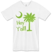 Say hello with the Lime Green Hey Y'all Palmetto Moon American Apparel T-Shirt. It features the South Carolina palmetto moon.