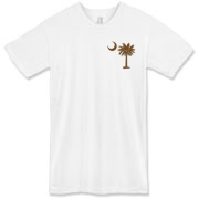 Buy a Chocolate Brown Palmetto Moon American Apparel T-Shirt featuring a smaller palmetto printed on the left chest area. The palmetto moon is a symbol of South Carolina pride.