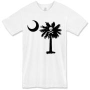 Buy a Jolly Roger Pirate Palmetto Moon American Apparel T-Shirt featuring a palmetto with a Jolly Roger pirate flag background. The palmetto moon is a symbol of South Carolina pride.