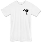 Buy a Jolly Roger Pirate Palmetto Moon American Apparel T-Shirt featuring a smaller palmetto printed on the left chest area with a Jolly Roger pirate flag background. The palmetto moon is a symbol of South Carolina pride.
