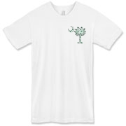 Buy a White Clover Pattern Palmetto Moon American Apparel T-Shirt featuring a palmetto moon with a white and green clover pattern, printed in the left chest area, perfect for St. Patrick's Day. The palmetto moon is a symbol of South Carolina pride.