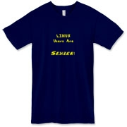 This witty computer American apparel t-shirt says: Linux Users Are Sexier. Duh! Let this design advertise your sexy computer prowess.