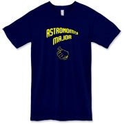 This funny astronomy American apparel t-shirt shows a thumb's up gesture, indicating that the proud wearer is an astronomy major.