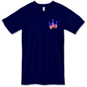 This bowling American apparel t-shirt with red white and blue pocket emblem design shows bright colored bowling pins and a colorful bowling ball, all wrapped in stars and stripes.