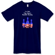 This stars and stripes bowling shirt design merges a bit of politics with the favorite sport of bowling. It shows ball and pins colored in red, white, and blue, and says: I'm Glad They Haven't Repealed Bowling.