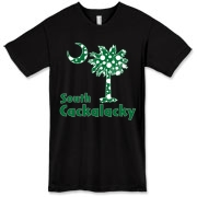 Green Polka Dots South Cackalacky Palmetto Moon American Apparel T-Shirt features a Polka Dot South Carolina palmetto moon logo in green.