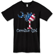 Buy a U.S. Flag Carolina Girl American Apparel T-Shirt featuring the American flag in the background of the South Carolina palmetto moon logo.